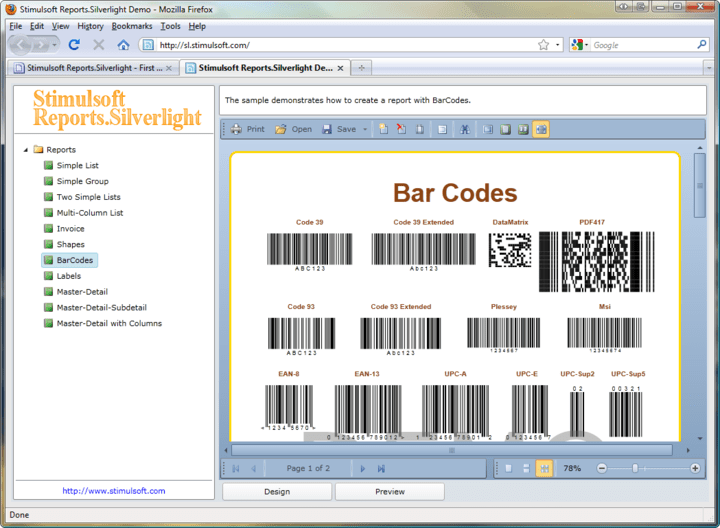 <strong>Barcodes</strong>: Use Stimulsoft Reports.Silverlight to add barcodes to your reports.<br /><br />