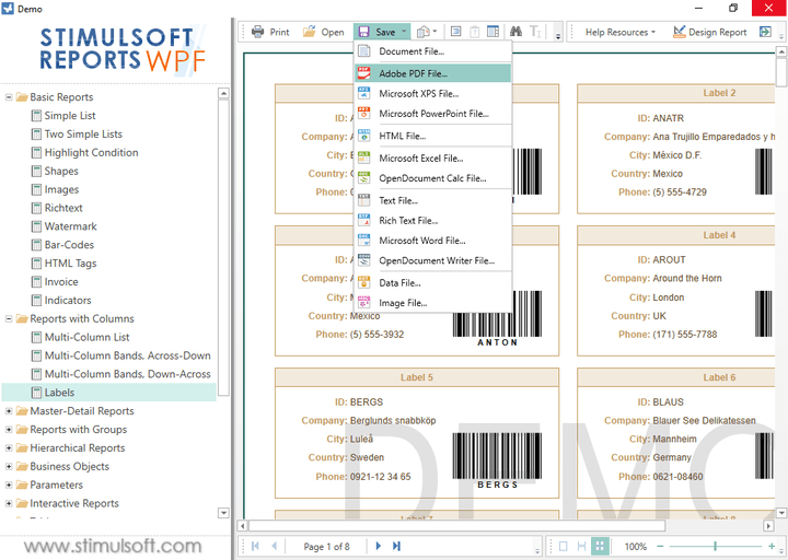 <strong>Exporting Reports</strong>: With Stimulsoft Reports.Wpf you can export reports to several formats: HTML, Mht, Text, RTF, PDF, XPS, Excel etc.