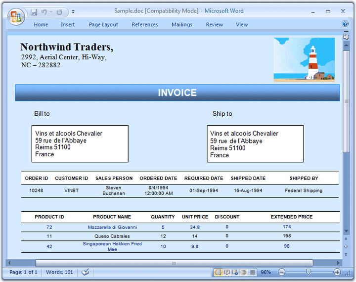 Sales Invoice: Dynamicaly create professional sales invoices using the mail-merge feature.
