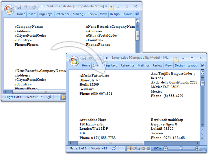 <strong>Mailing Labels on demand</strong>: Define templates with markers that define how to bind the document elements with data to create dynamic mailing labels.<br /><br />