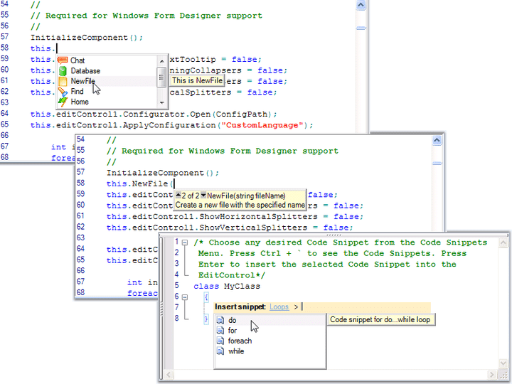 <strong>Intellisense</strong>: Implement Visual Studio like intellisense in your code-editing applications.<br /><br />