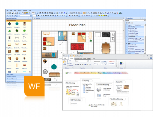 <strong>WinForms</strong>: An array of WinForms controls including a diagramming component<br /><br />