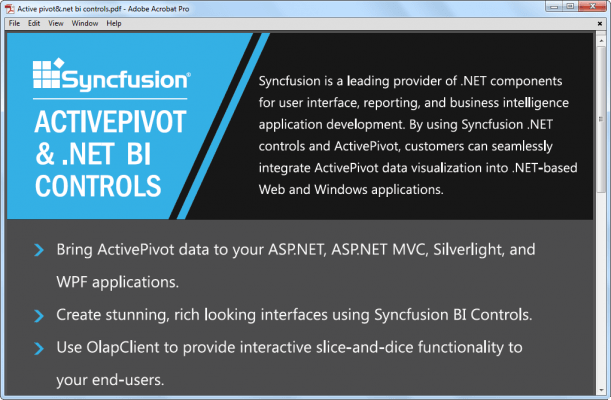 <strong>PDF Viewer</strong>: PDF Viewer allows you to view and print PDF files - without Adobe Acrobat - from within MVC, WPF and Windows Forms apps.<br /><br />