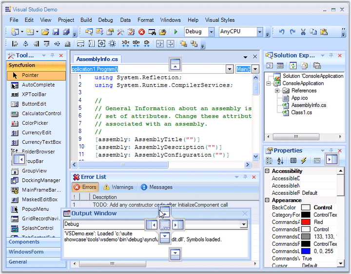 <strong>VS.NET like UI</strong>: Incorporate VS.NET style docking, menus, tabbed mdi, etc. in your applications. <br /><br />
