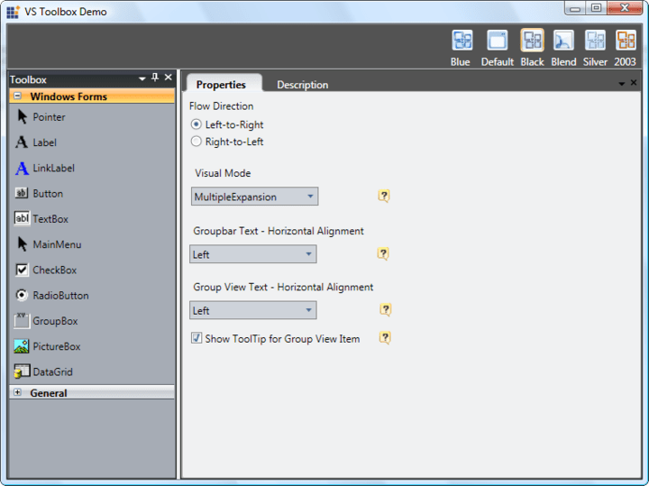 <strong>Navigation</strong>: This Visual Studio style toolbox UI is created using the group bar and Docking Manager controls.