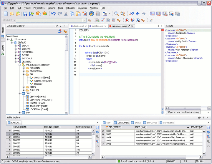 <strong>XML Database Perspective</strong>: The XML Database Perspective contains an explorer over the defined connections (you can define multiple connections at one time and browse them in parallel), a table component for data inspection/editing and the editor area.
