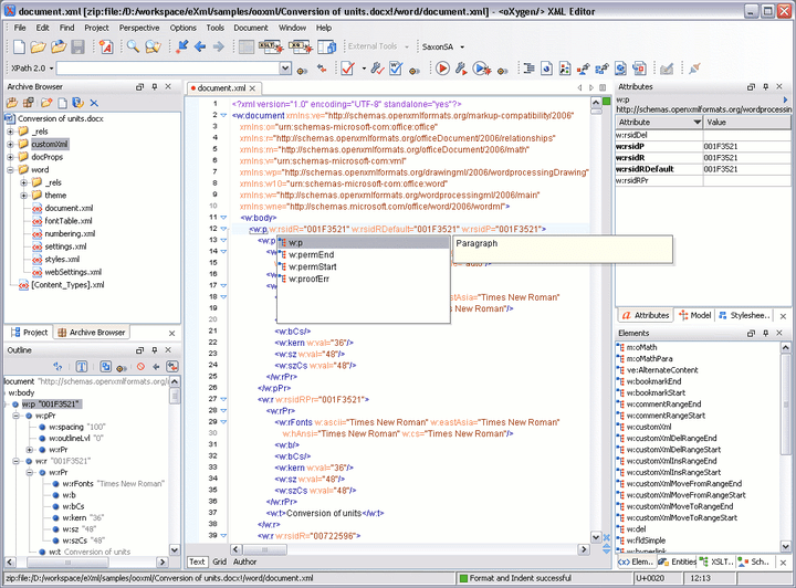 <strong>Editing Office Open XML files</strong>: oXygen offers a complete framework that provides support for editing and validating documents from the Office Open XML zipped package. The NVDL schema can be easily customized to allow user defined extension schemas for use in OOXML files.