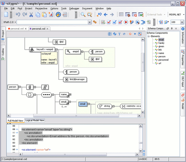 <strong>oXygen XML Editor Professional (英語版+日本語版) のスクリーンショット</strong>: All the elements from the XML Schema specification have a graphical representation. The diagram is synchronized in real time with the changes in the document and allows a quick navigation through the schema structure.