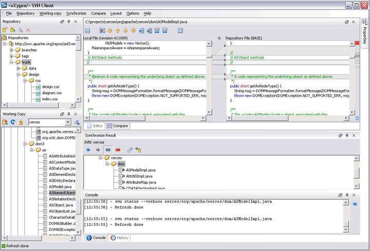 <strong>oXygen XML Editor Professional (英語版+日本語版) のスクリーンショット</strong>: The SVN Client is composed of several views allowing you to browse the Subversion repositories and your local working copies, compare and merge modifications, check the revision history. All the views are dockable. This means you can move them to create the optimal layout for your use case.  <br /><br />