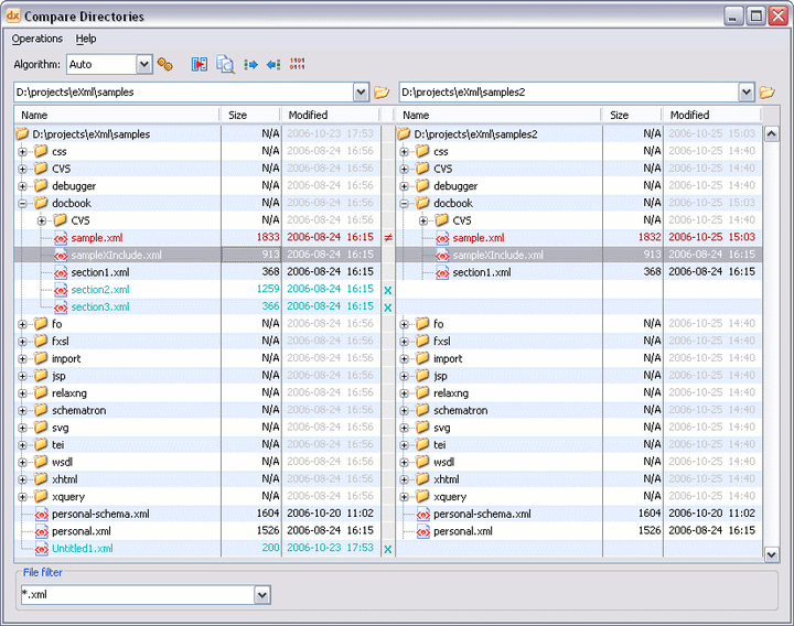 <strong>oXygen XML Editor Professional (英語版+日本語版) のスクリーンショット</strong>: A complete diff and merge solution is available in XML Editor. It offers both directory and file comparison, six different diff algorithms and multiple levels of comparison.  <br /><br />