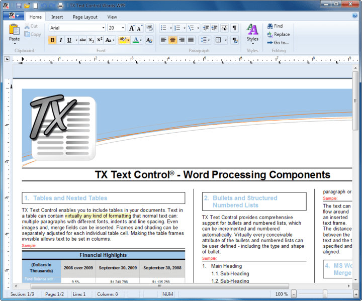 <strong>Screenshot of TX Text Control .NET for WPF Professional</strong><br /><br />