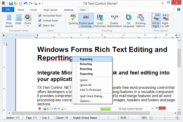 <strong>Stylesheet Formatting</strong>: TX Text Control supports both paragraph and character based styles, as well as multiple style inheritance. The stylesheets are compatible with MS Word, and can be used with RTF and DOC files. <br /><br />