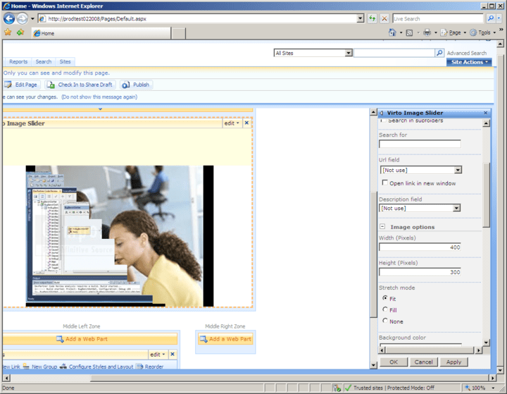 <strong>Screenshot of Virto Image Slideshow Web Part</strong><br /><br />