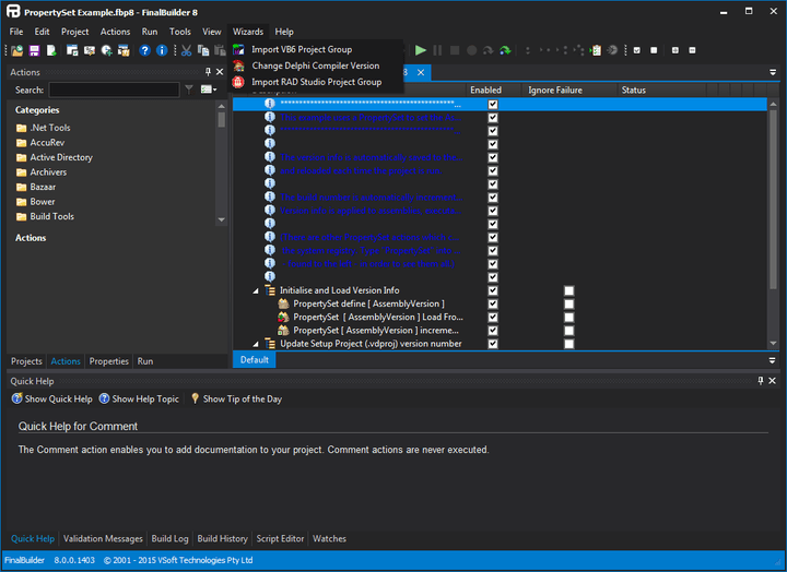 <strong>FinalBuilder IDE</strong>: The FinalBuilder GUI simplifies build automation by providing and easy to use IDE for visually creating automated build projects. <br /><br />