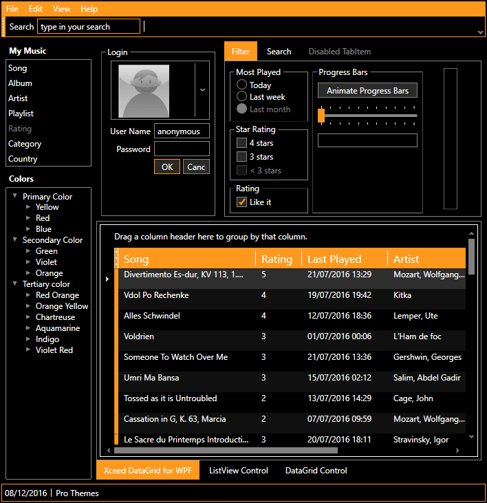 wpf datagrid control template - xceed pro themes for wpf